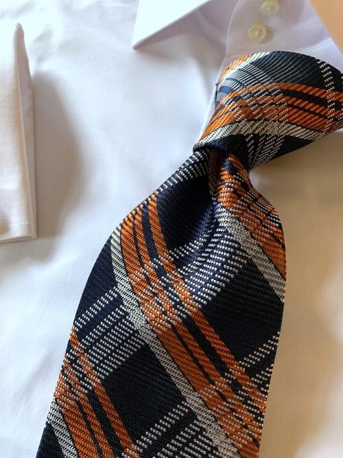 NEW - Navy Orange Autumn Plaid Tie