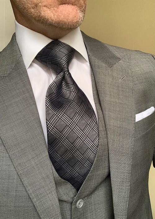 Black and Silver Glen Plaid Tie