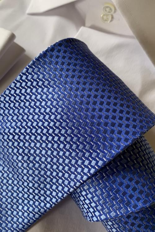 Cubic Royal Blue Sheen Tie