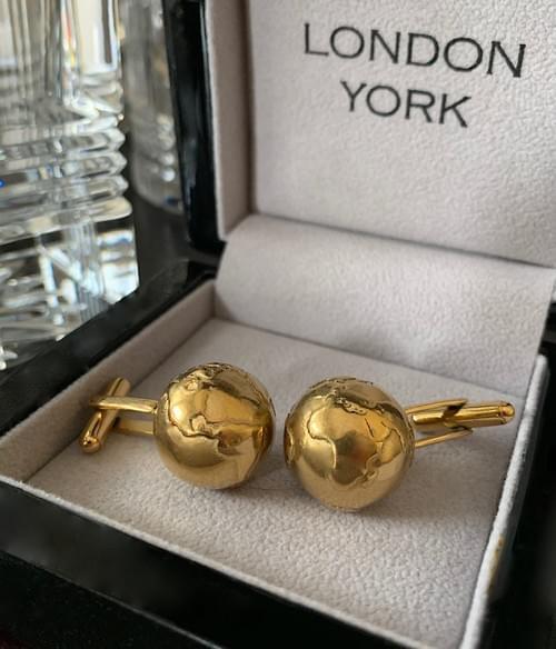 NEW - 24k Gold Plated Steel Globe Cufflinks