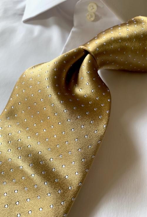 Metallic Gold Micro-Dot Tie
