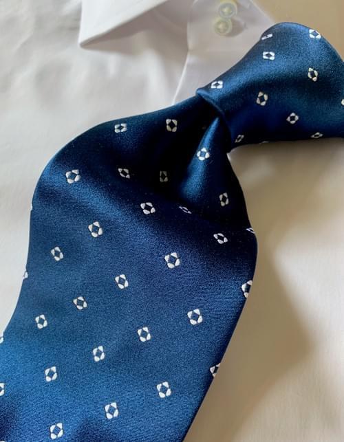 NEW -  Deep Water Blue Diamond Dots Tie
