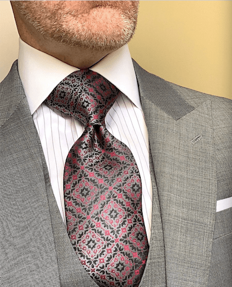 Silver Red Black Damask Pattern Tie
