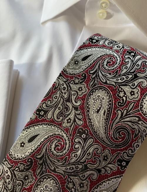 Burgundy Silver Black Paisley Tie
