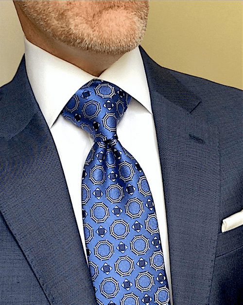 CLEARANCE: Blue Satin Medallion Tie
