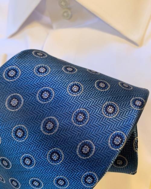 Blue and Tan Circle Herringbone Tie