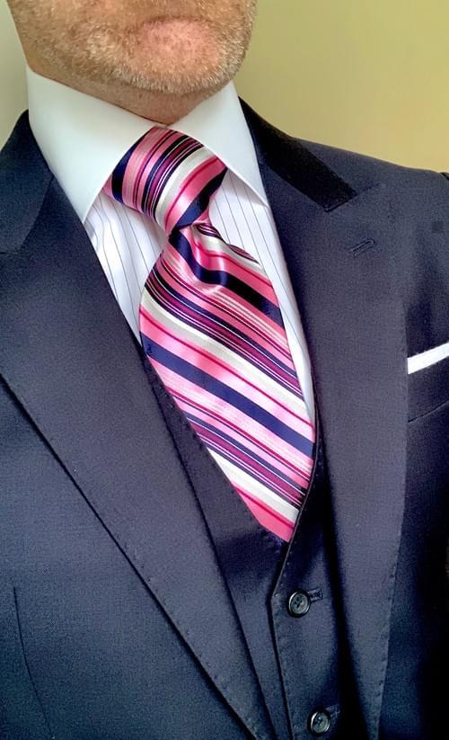Pink Navy Power Striped Tie