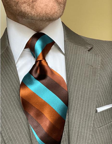 NEW - Aqua Rust Brown Satin Striped Tie