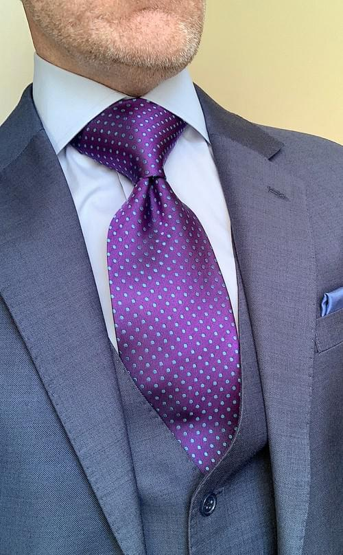 Purple with Light Blue Dots Tie