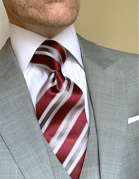 Burgundy Grey Satin Striped Tie