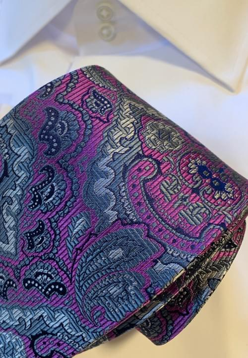 CLEARANCE: Pink and Silver Paisley Tie