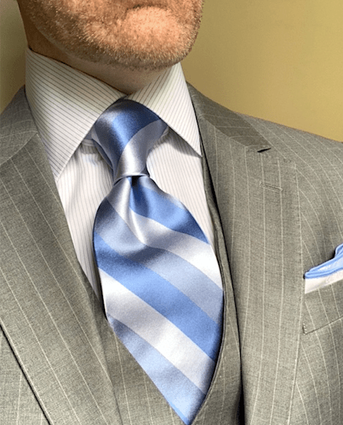 NEW - Summer Sky Blue Satin Striped Tie