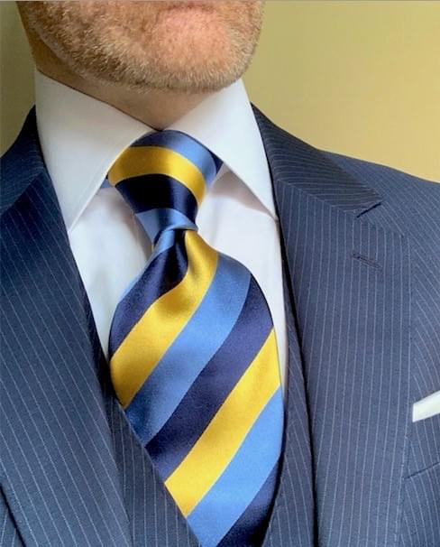 NEW - Classic Navy Rep Striped Tie - Light Blue Gold