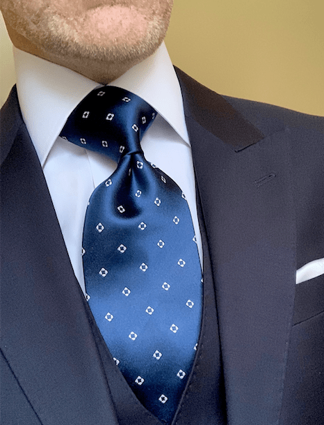 NEW -  Deep Water Blue Diamond Dots Tie