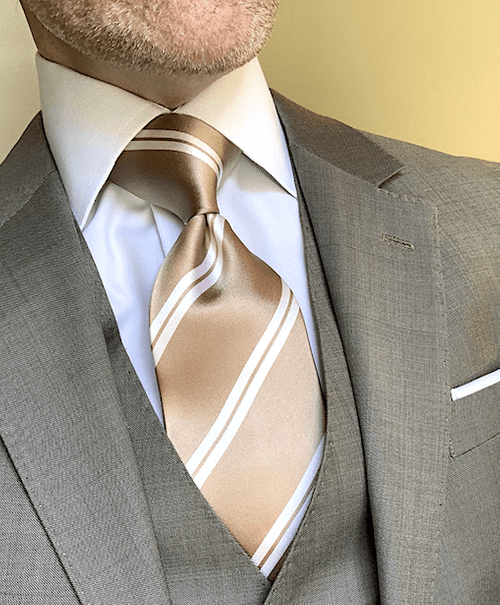 NEW - Tan with White Academic Stripe Tie