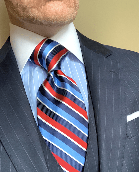 Navy Light Blue Red Ribbon Striped Tie