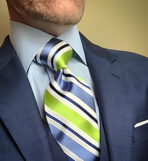 Lake and Lime Satin Striped Tie