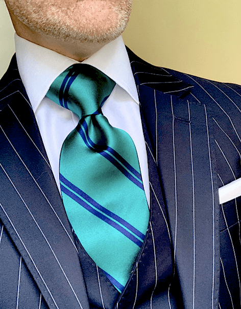 NEW - Green with Navy Academic Stripe Tie