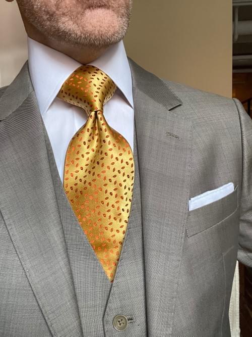 NEW - Gold Rust Autumn Leaves Satin Tie