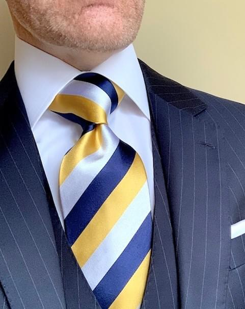 Classic Navy Rep Striped Tie - Gold
