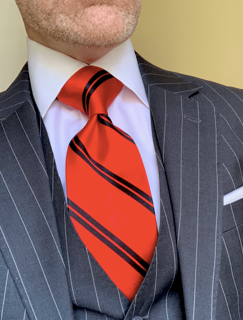 NEW - Red with Black Academic Stripe Tie
