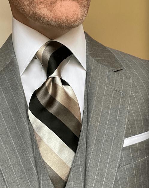 NEW - Black Pewter Tan Satin Striped Tie