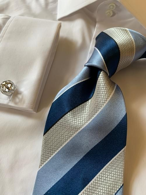 NEW - Navy Sky Blue Chainmail Striped Tie
