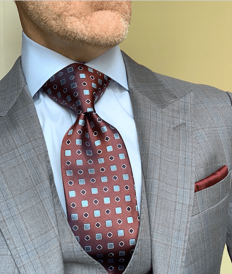BACK IN STOCK - Iron Red with Blue Geometrics Tie