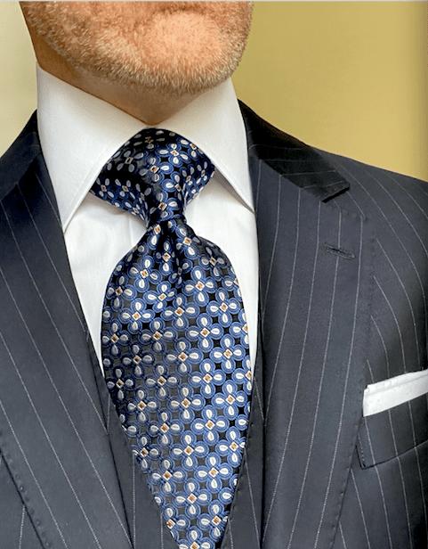 NEW - Navy Gold Pinwheel  Tie