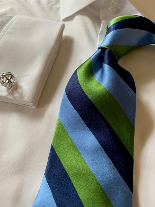 Classic Navy Rep Striped Tie - Light Blue Green