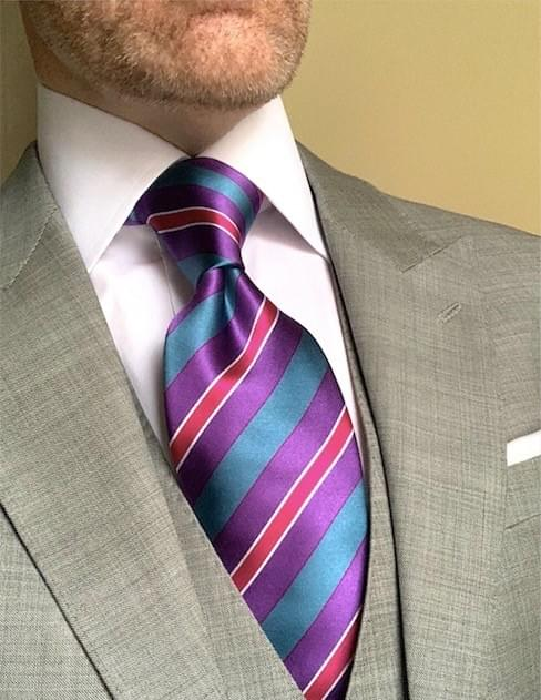 NEW - Turquoise Purple Pink Striped Tie