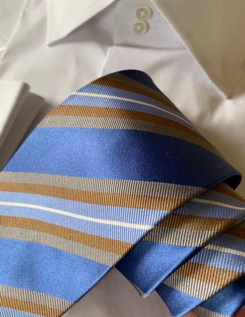 Blue and Tan Ribbon Striped Tie