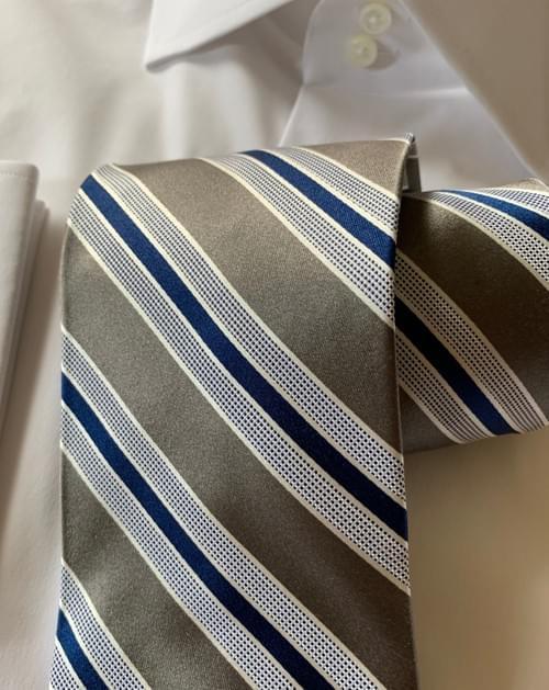 Silver Navy Satin Striped Tie