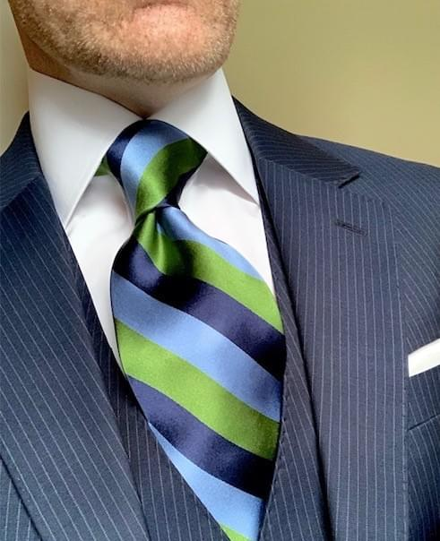 NEW - Classic Navy Rep Striped Tie - Light Blue Green