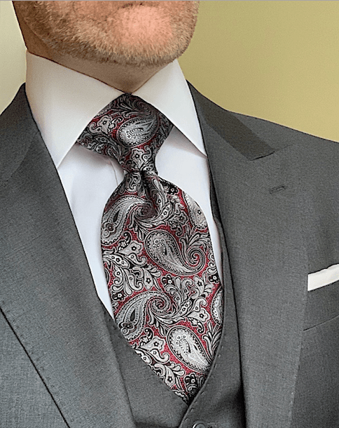 NEW - Burgundy Silver Black Paisley Tie