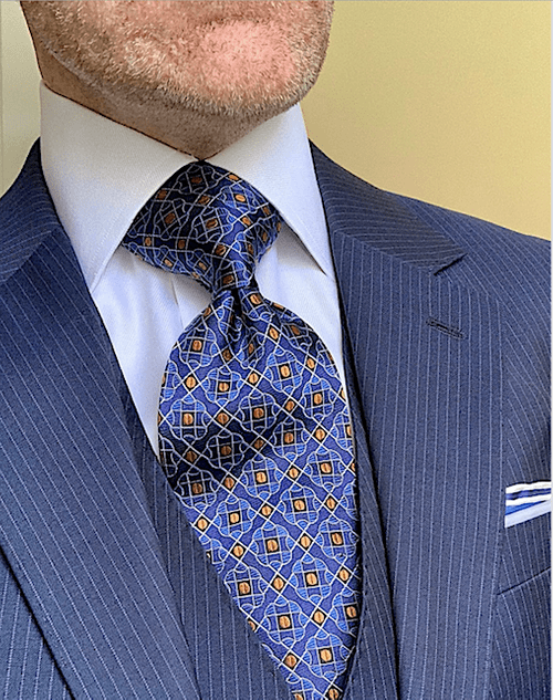 Gold Dotted Blue Tiles Tie