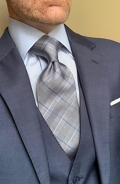 NEW - Light Blue Glen Plaid Tie