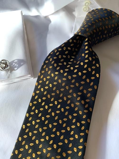 NEW - Black Gold  Autumn Leaves Satin Tie