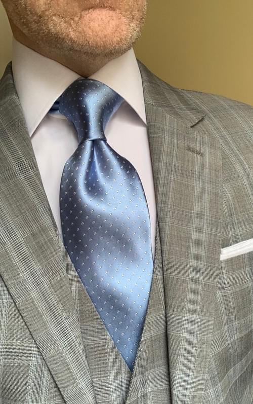 NEW - Icy Light Blue Micro-Dot Tie
