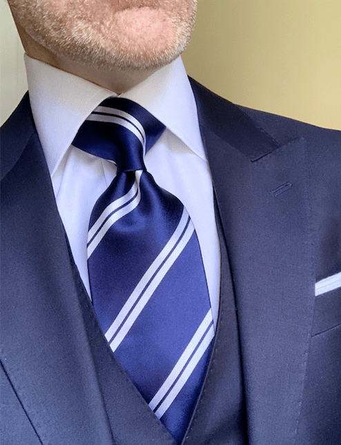 NEW - Navy with White Academic Stripe Tie