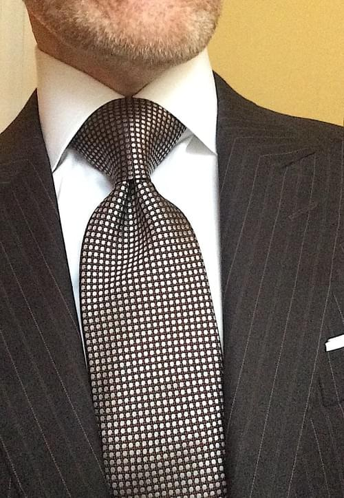 CLEARANCE: Brown Silver Orange Dot Tie