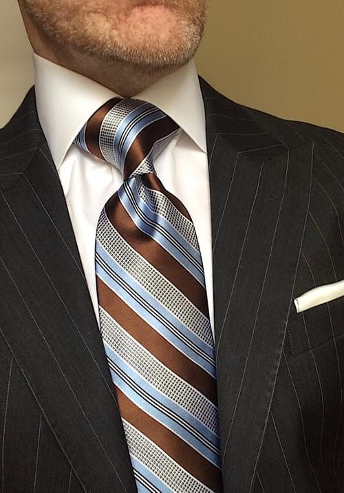 CLEARANCE: Sky Blue Brown Silver Striped Tie