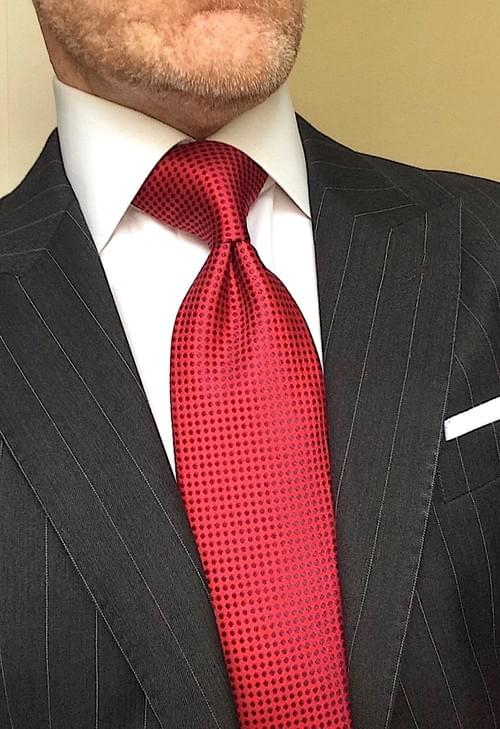 CLEARANCE: Red with Navy Dot Tie