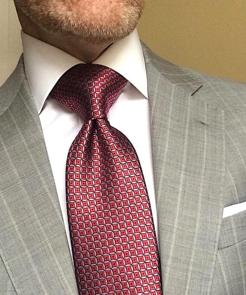 CLEARANCE: Red Silver Circle Geometric Tie