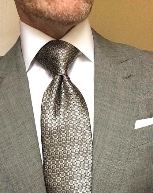 CLEARANCE: Silver Gold Circle Geometric Tie