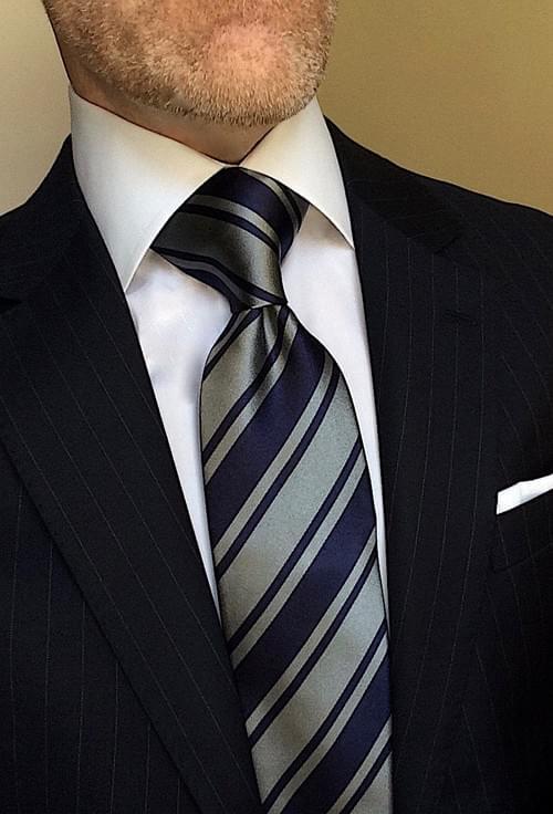Navy Gray Bold Striped Tie