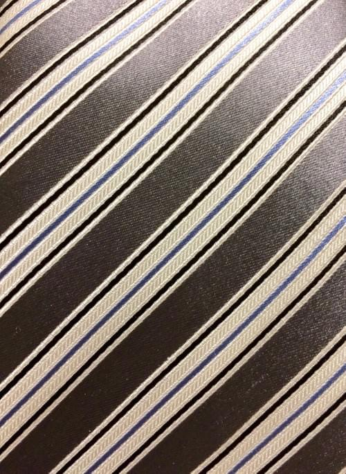 CLEARANCE: Silver Sky Blue White Striped Tie