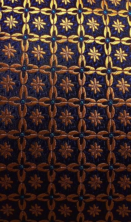 CLEARANCE: Navy Gold Medallion Weave Tie