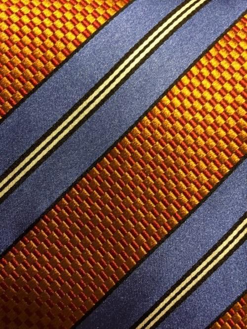 Orange/ Sky Blue Striped Tie
