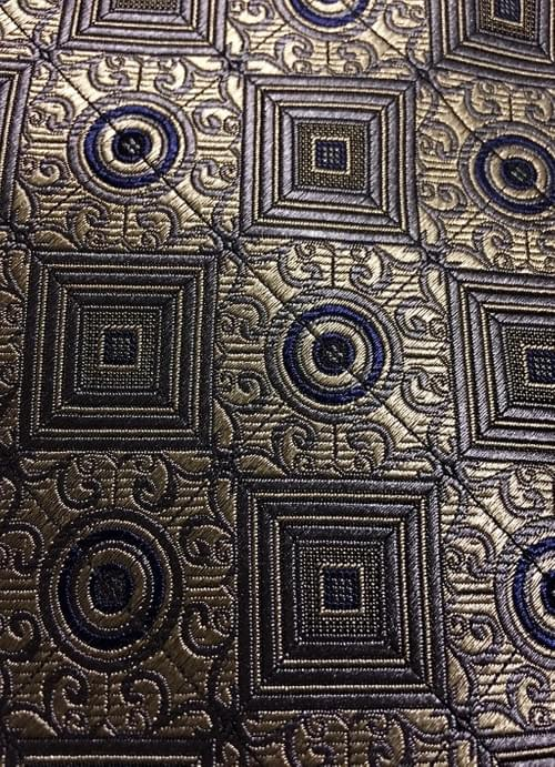 CLEARANCE: Silver Blue Square Medallion Tie